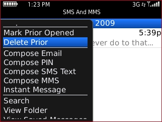 sms and mms menu with delete prior highlighted
