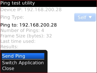Ping test utility menu with Send Ping