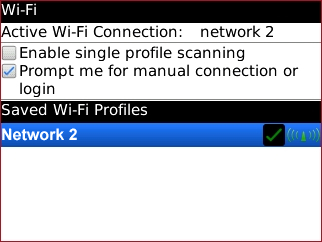 Wi-Fi options with a Wi-Fi profile