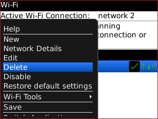 Wi-Fi options menu with Delete
