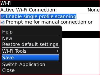 Wi-Fi options menu with Save