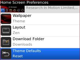 Home Screen Preferences with Theme Defaults Reset