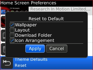 Reset to Default menu with desired options and Apply