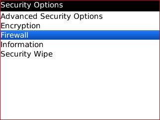 Security Options with Firewall highlighted