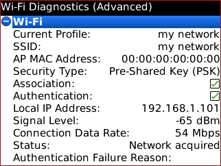 Wi-Fi Diagnostics advanced