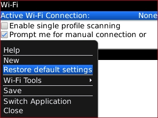 Wi-Fi menu with Restore default settings