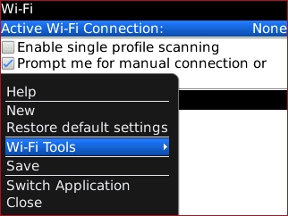 Wi-Fi menu with Wi-Fi Tools highlighted