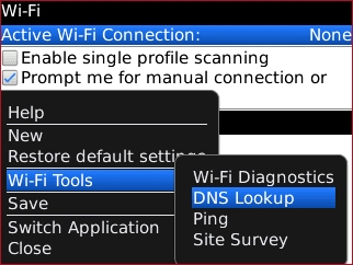 Wi-Fi menu with DNS Lookup highlighted