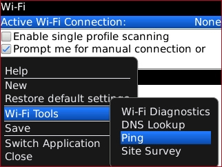 Wi-Fi menu with Ping highlighted