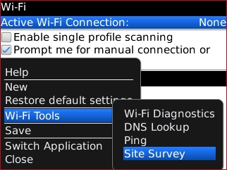 Wi-Fi menu with Site Survey highlighted