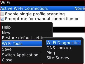 Wi-Fi menu with Wi-Fi Diagnostics highlighted
