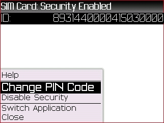 SIM Card menu with Change PIN Code highlighted