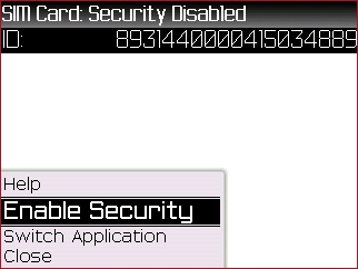 SIM Card menu with Enable Security highlighted