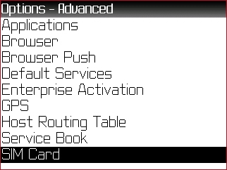 Advanced Options menu with Sim Card highlighted