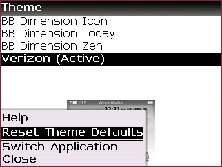Theme menu with Reset Theme Defaults