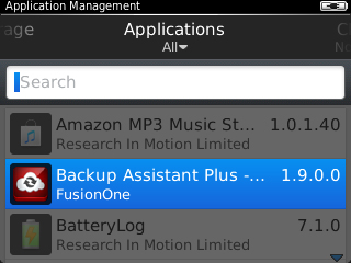 Application Management with BackupAssistant