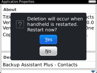 Restart Confirmation with Yes