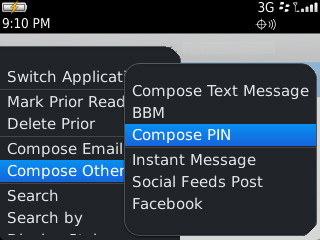 Messages menu with Compose PIN