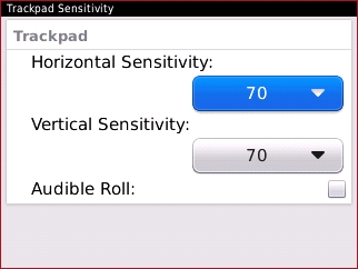 Trackpad Sensitivity con campo Horizontal Sensitivity