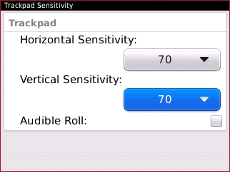 Trackpad Sensitivity con campo Vertical Sensitivity