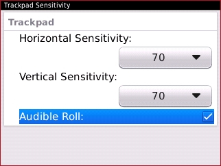 Trackpad Sensitivity with Audible Roll field