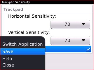Trackpad Sensitivity menu with Save