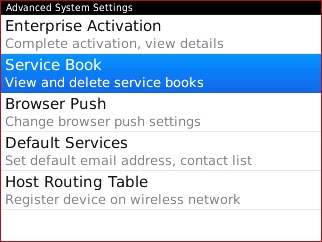 Advanced System Settings with Service Book