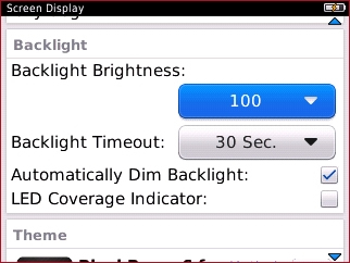 Backlight section with available options