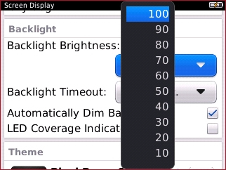 Backlight option with available settings