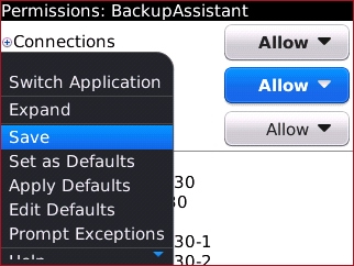 Permissions menu with Save