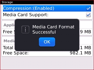 Format confirmation with OK