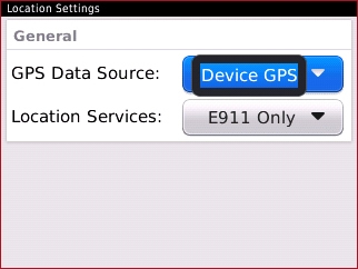 Campo GPS Data Source con configuraciones disponibles