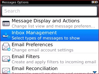 Messages Options with Inbox Management