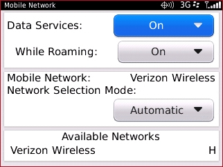 Pantalla Mobile Network con Data Services