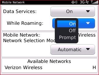 Pantalla Mobile Network con configuración While Roaming.