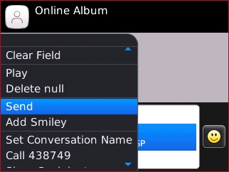 Online Album menu with Send