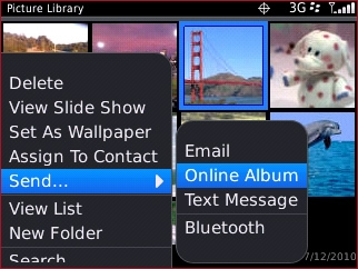 Pictures send menu with Online Album