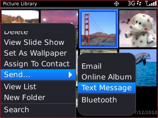 Pictures send menu with Text Message