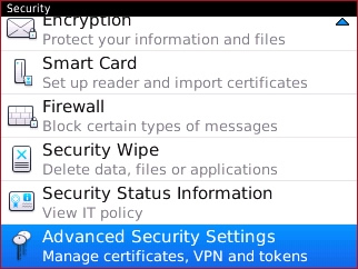 Security with Advanced Security Settings