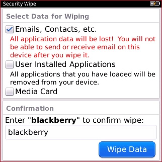 Security Wipe screen with Wipe Data
