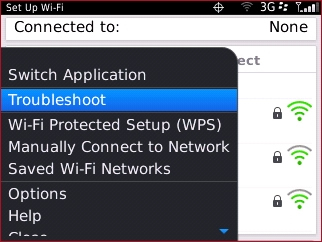 Set up WiFi menu with Troubleshoot