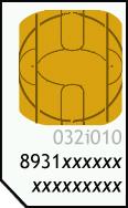 Tarjeta SIM con el número SIM resaltado