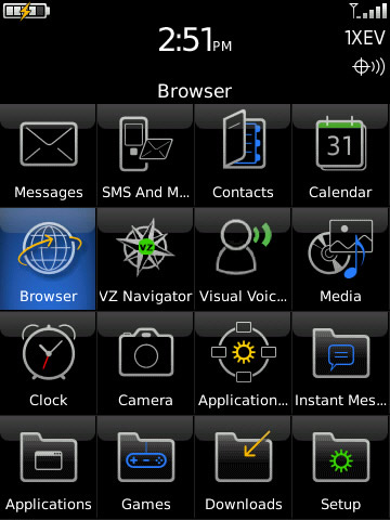 blackberry main screen with browser