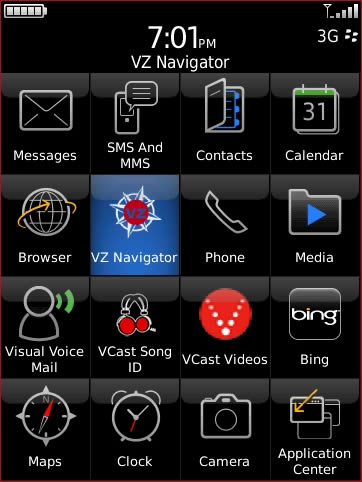Applications screen with VZ Navigator