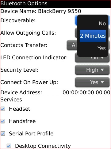 Bluetooth options screen with desired option highlighted