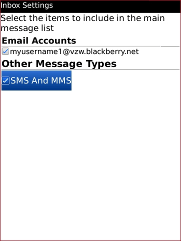 Inbox Settings with SMS And MMS