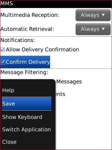 MMS Options screen with Save highlighted