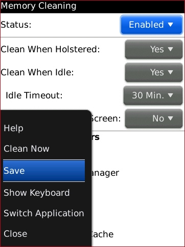 Memory Cleaning screen with Save highlighted