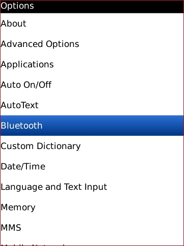 Options screen with Bluetooth highlighted