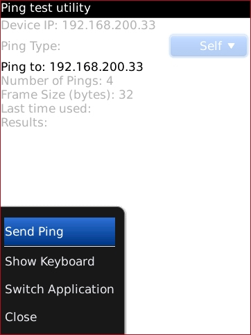 Ping test utility menu with Send Ping highlighted